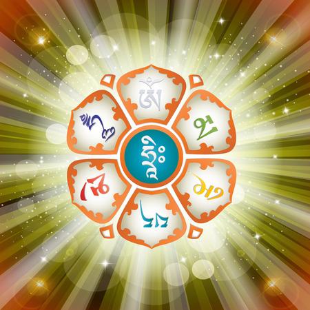 Mantra OM MANI PADME HUM in the Lotus. Buddhism. Vector illustration. Stock Illustratie