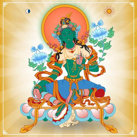 Vector illustratie met Groene Tara. Een symbool van het Tibetaanse boeddhisme. Boeddha. Vector Illustratie.