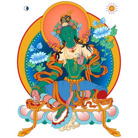 Vector illustration with Green Tara. A symbol of the Tibetan Buddhism. Buddha. Vector Illustration.