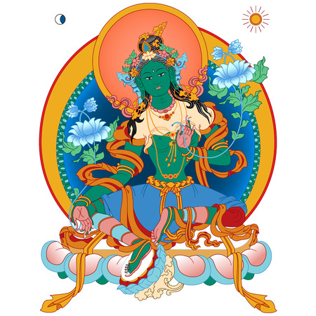 tibetan: Vector illustration with Green Tara. A symbol of the Tibetan Buddhism. Buddha. Vector Illustration.