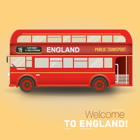 double decker: Background with isolated double decker bus. England, United Kingdom. Illustration