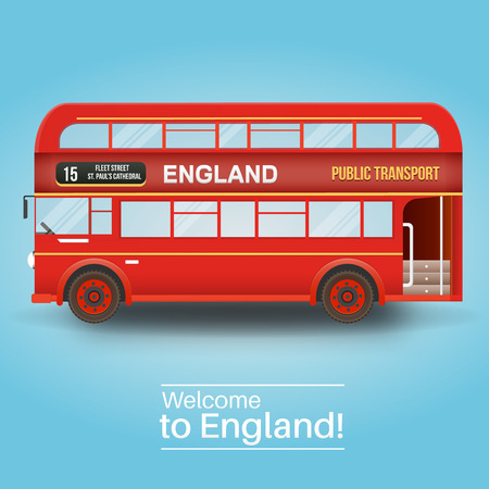 red bus: Background with isolated double decker bus. England, United Kingdom. Illustration
