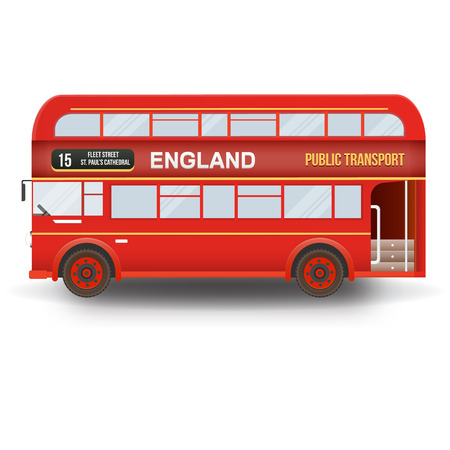 double decker bus: Double decker bus isolated in white background. England, United Kingdom.