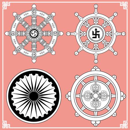 Dharma Wheel, Dharmachakra Icons. Wheel of Dharma in black and white design. Buddhism symbols. Symbol of Buddhas teachings on the path to enlightenment, liberation from the karmic rebirth in samsara.