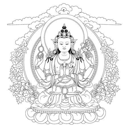 Vector illustratie met Bodhisattva Avalokiteshvara. Bodhisattva die de compassie van alle boeddha's belichaamt. Een symbool van het Tibetaanse boeddhisme. Boeddha. Zwart-wit ontwerp. Stock Illustratie