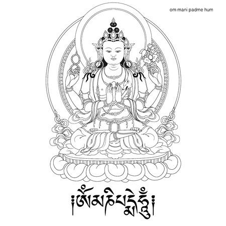 Vector illustratie met Avalokiteshvara en mantra OM MANI PADME HUM. Bodhisattva die het medeleven van alle Boeddha's belichaamt. Een symbool van het Tibetaanse boeddhisme. Boeddha. Zwart en wit ontwerp.