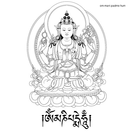 Vector illustration with  Avalokiteshvara and mantra OM MANI PADME HUM.  Bodhisattva who embodies the compassion of all Buddhas. A symbol of the Tibetan Buddhism. Buddha. Black and white design.