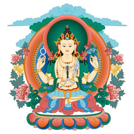 Vector illustratie met Bodhisattva Avalokiteshvara. Bodhisattva die het medeleven van alle Boeddha's belichaamt. Een symbool van het Tibetaanse boeddhisme. Boeddha. Kleur ontwerp.