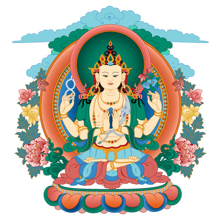 Vector illustration with Bodhisattva Avalokiteshvara.  Bodhisattva who embodies the compassion of all Buddhas. A symbol of the Tibetan Buddhism. Buddha. Color design.
