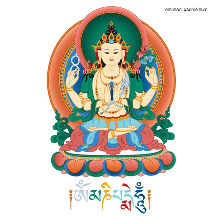 tibetan: Vector illustration with  Bodhisattva Avalokiteshvara and mantra OM MANI PADME HUM.  Bodhisattva who embodies the compassion of all Buddhas. A symbol of the Tibetan Buddhism. Buddha. Color design. Illustration