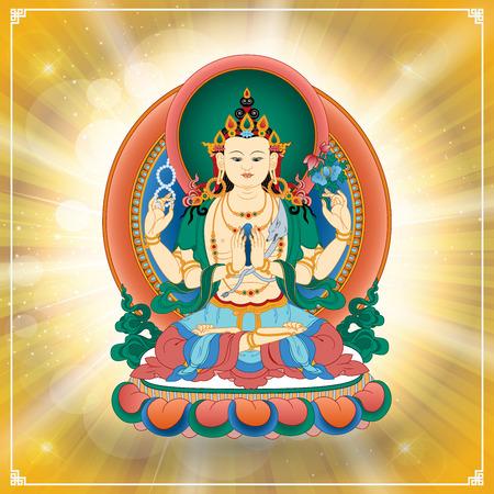 Vector illustration with Bodhisattva Avalokiteshvara, who embodies the compassion of all Buddhas. Buddha. Avalokite?vara is one of the more widely revered bodhisattvas in Mahayana Buddhism. Tibet.