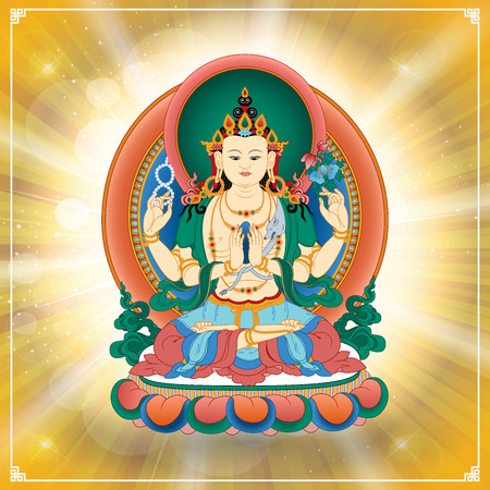 Vector illustration with Bodhisattva Avalokiteshvara, who embodies the compassion of all Buddhas. Buddha. Avalokite?vara is one of the more widely revered bodhisattvas in Mahayana Buddhism. Tibet.