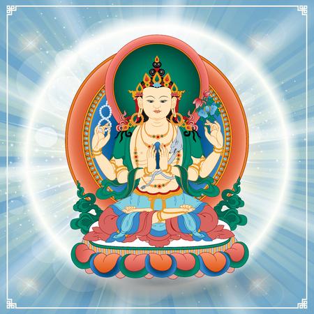 cabeza de buda: Ilustración vectorial con el Bodhisattva Avalokitesvara, que encarna la compasión de todos los Budas. Buda. Avalokite? Vara es uno de los bodhisattvas más ampliamente venerado en el budismo Mahayana. Tíbet.