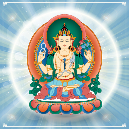 buddhist: Vector illustration with Bodhisattva Avalokiteshvara, who embodies the compassion of all Buddhas. Buddha. Avalokite?vara is one of the more widely revered bodhisattvas in Mahayana Buddhism. Tibet.