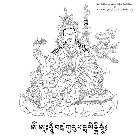 """Vektor-Illustration mit Padmasambhava und Mantra. Guru Rinpoche. """"Lotus-Born"""". Es ist eine Emanation von Buddha Amitabha. Ein Symbol des tibetischen Buddhismus. Buddha. Schwarz-Weiß-Design. Standard-Bild - 51234958"""