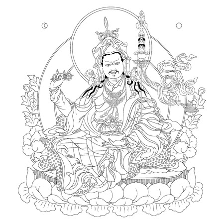 tibetan: Vector illustration with Guru Padmasambhava. Guru Rinpoche was an Indian Buddhist master. It is an emanation of Buddha Amitabha. A symbol of the Tibetan Buddhism. Buddha. Black and white design.