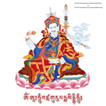 wheel of dharma: Vector illustration with Padmasambhava and mantra. Guru Rinpoche. Lotus-Born. It is an emanation of Buddha Amitabha. A symbol of the Tibetan Buddhism. Buddha. Color design.