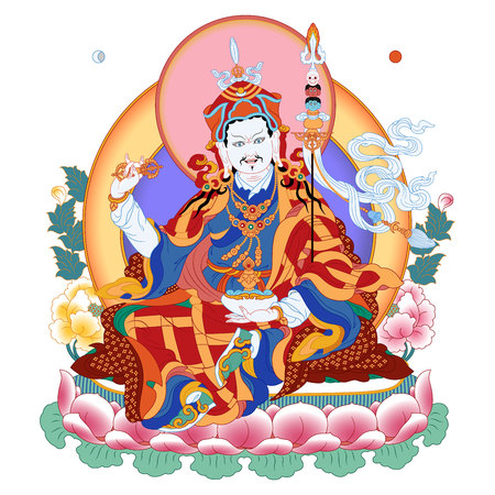 Vector illustration with Guru Padmasambhava. Lotus-Born. Guru Rinpoche was an Indian Buddhist master. It is an emanation of Buddha Amitabha. A symbol of the Tibetan Buddhism. Buddha. Color design. Vectores