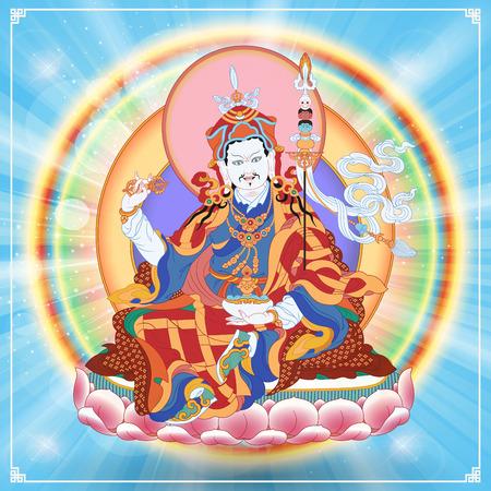 Vector illustration with Guru Padmasambhava. Lotus-Born. Guru Rinpoche was an Indian Buddhist master. It is an emanation of Buddha Amitabha. A symbol of the Tibetan Buddhism. Buddha. Stock Illustratie