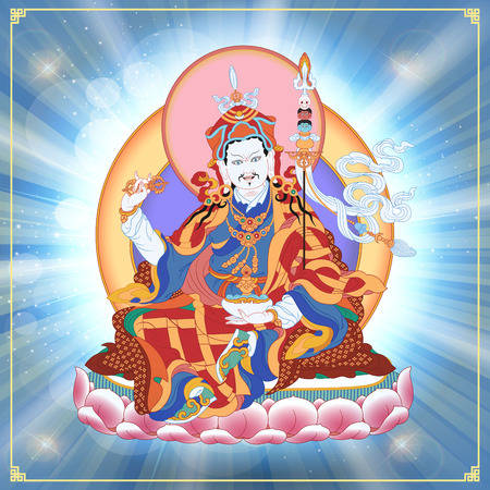 tibetan: Vector illustration with Guru Padmasambhava. Lotus-Born. Guru Rinpoche was an Indian Buddhist master. It is an emanation of Buddha Amitabha. A symbol of the Tibetan Buddhism. Buddha. Illustration