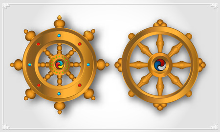 Dharma Wheel, Dharmachakra Icons. Wheel of Dharma in realistic design. Buddhism symbols. Symbol of Buddhas teachings on the path to enlightenment, liberation from the karmic rebirth in samsara.W