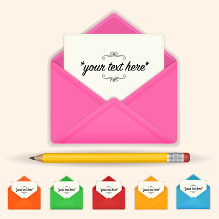 Envelope with a letter and a pencil. Icons for web, applications and desktop. Color design