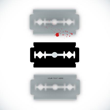 Symbol of a Razor blade. Razor blade black silhouette.Realistic razor blade. Razor blade icon. Blood.