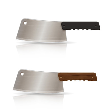 stainless steel kitchen: Realistic stainless steel kitchen knife, vector illustration