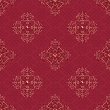 こんごうと無限の結び目のベクトルの背景パターン。仏教の象徴。シンボルの知恵・悟り。ネパール、チベット。  イラスト・ベクター素材