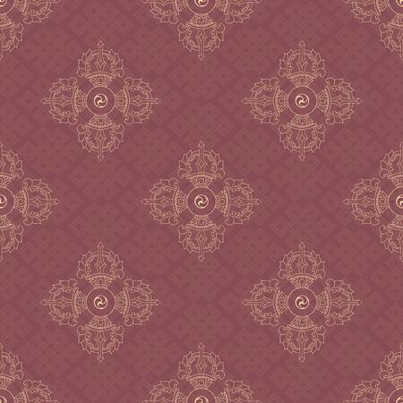 nirvana: Vajra and endless knot, background pattern in vector. Buddhist symbols. Symbols wisdom & enlightenment. Nepal, Tibet. Illustration
