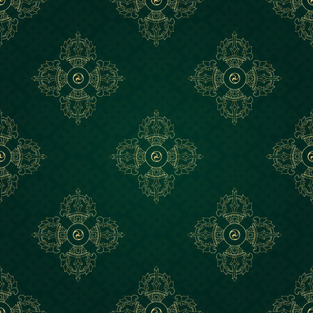 Vajra and endless knot, background pattern in vector. Buddhist symbols. Symbols wisdom & enlightenment. Nepal, Tibet. Vectores