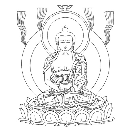 Vector illustration with Buddha Amitabha in meditation. A symbol of the Tibetan Buddhism. Black and white design. Illusztráció