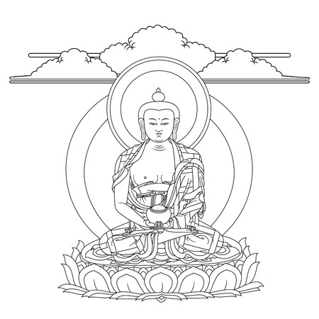 Vector illustration with Buddha Amitabha in meditation. A symbol of the Tibetan Buddhism. Black and white design. Vectores
