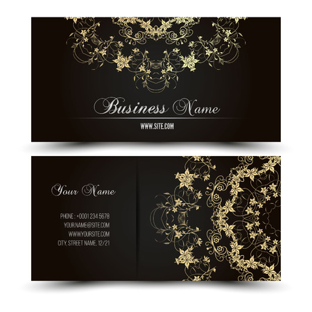 Elegant vector business card template. Vector format. Gold and dark colors. Vectores