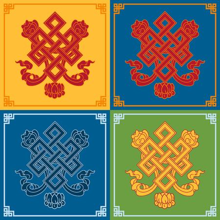 tantra: Color endless knot icons. Buddhist symbols. Symbols wisdom & enlightenment.