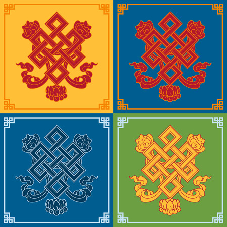 Color endless knot icons. Buddhist symbols. Symbols wisdom & enlightenment.
