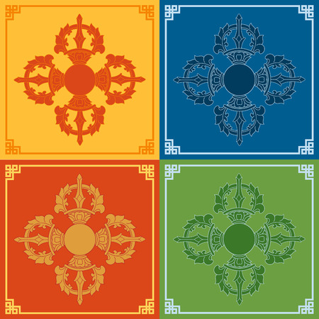 tantra: Color Vajra Icons. Buddhism symbols. Vector illustration.
