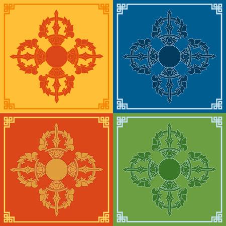 Color Vajra Icons. Buddhism symbols. Vector illustration.