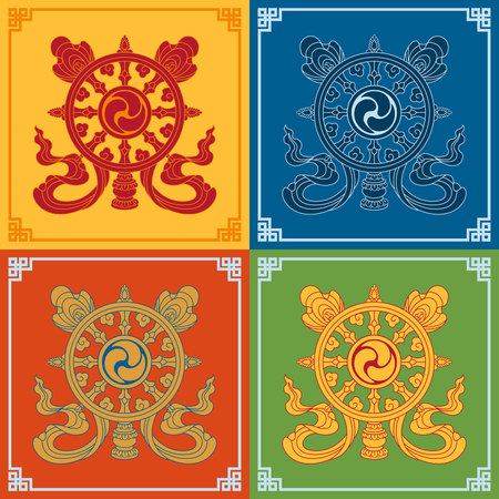 tantra: Color Dharma Wheel Dharmachakra Icons. Symbols wisdom & enlightenment. Nepal, Tibet. Buddhism symbols. Vector illustration.