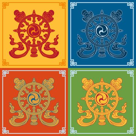 Color Dharma Wheel Dharmachakra Icons. Symbols wisdom & enlightenment. Nepal, Tibet. Buddhism symbols. Vector illustration.