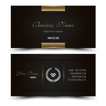 Elegant vector illustration business card template. Vector format. Gold and dark colors.