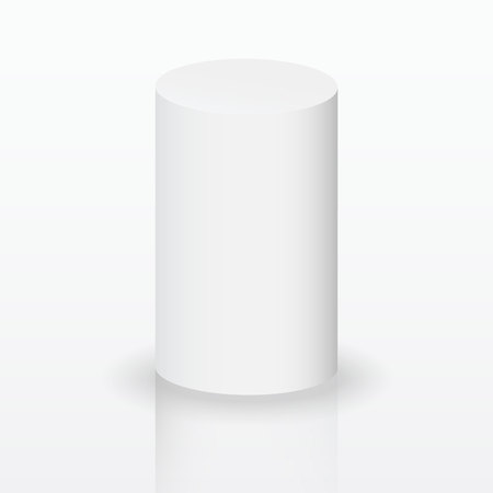 Realistic 3D White Cylinder. Cylinder on white background. Vector illustration. Vectores