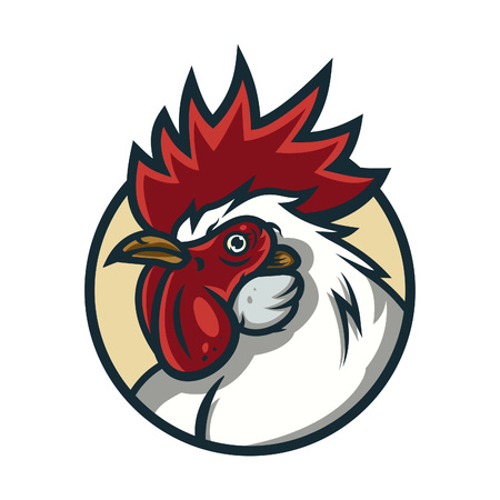 Detailed sports logo template with angry face emotion rooster mascot for college, school sport team logo concept, apparel design. Vector Illustration.