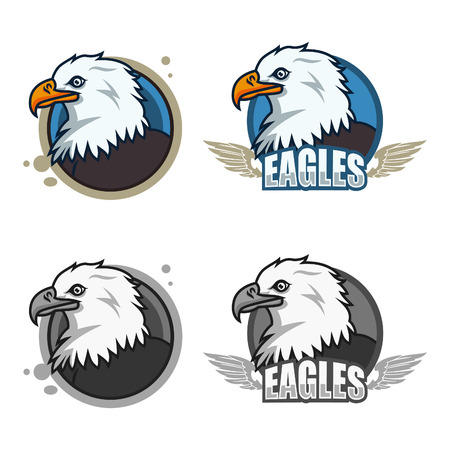 Detailed sports logo template with eagle face  mascot for college, school sport team logo concept, apparel design. Vector Illustration.