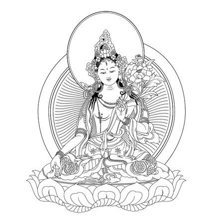 tantra: White Tara in Tibetan Buddhism, is a female Bodhisattva in Mahayana Buddhism who appears as a female Buddha in Vajrayana Buddhism. Buddha. Color design. Vector illustration.