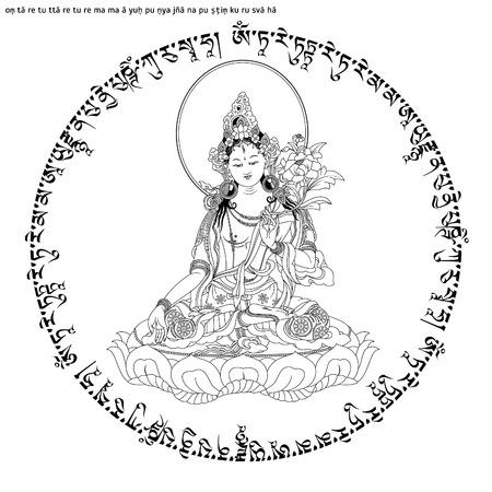 Mantra Om Tare TUTTARE Ture Mama Ayuh Punya Jnana Pustim Kuru Svaha. Grüne Tara im tibetischen Buddhismus, ist Bodhisattva im Mahayana-Buddhismus, die als weibliche Buddha in Vajrayana-Buddhismus erscheint. Buddha.