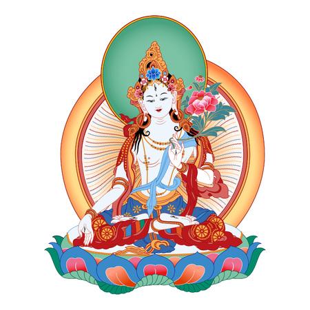 チベット仏教における白タラは Vajrayana 仏教における女性の仏として表示されている大乗仏教における女性の菩薩です。仏。カラー デザイン。ベク