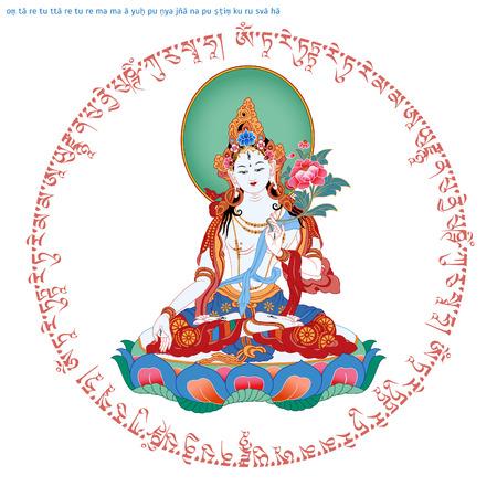 Mantra Om Tare Tuttare Ture Mama Ayuh Punya Jnana Pustim Kuru Svaha. Green Tara in Tibetan Buddhism, is Bodhisattva in Mahayana Buddhism who appears as a female Buddha in Vajrayana Buddhism. Buddha. Imagens - 74414304