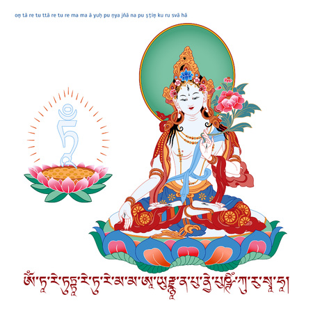 White Tara in Tibetan Buddhism, is a female Bodhisattva in Mahayana Buddhism who appears as a female Buddha in Vajrayana Buddhism. Buddha. Color design. Vector illustration.