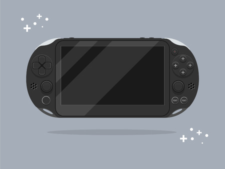 Portable game console. Flat design. Isolated. Vector illustration.